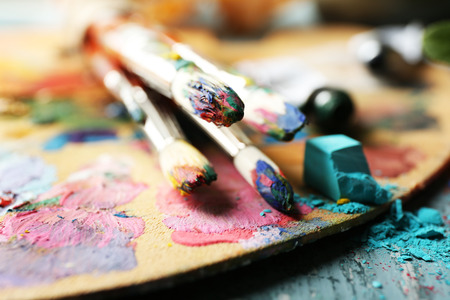 paint palette: Beautiful still life with professional art materials, close up