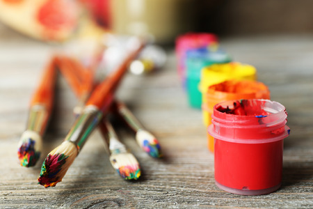 paintbrush: Beautiful still life with professional art materials, close up