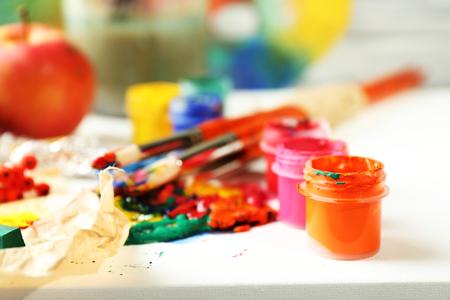 art materials: Beautiful still life with professional art materials, close up