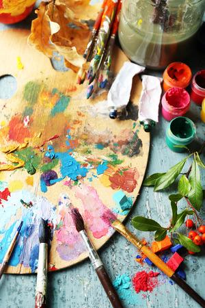 전문 미술 재료와 함께 아름 다운, 아직 인생을 닫습니다, 스톡 콘텐츠