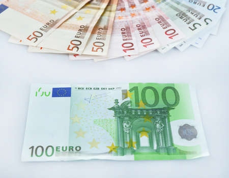 euro banknotes: Euro banknotes isolated on white