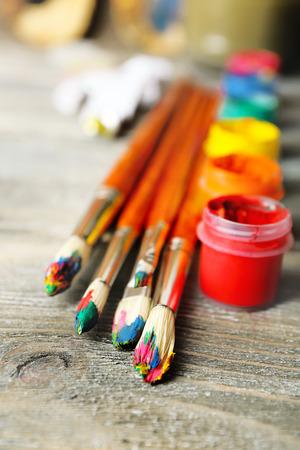 creative artist: Beautiful still life with professional art materials, close up