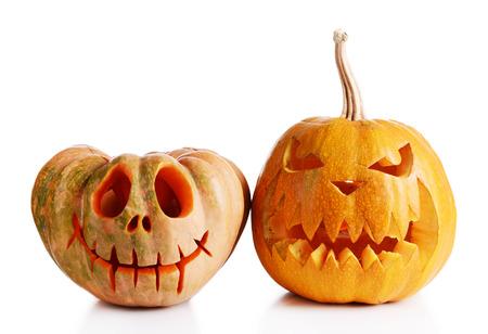 Halloween pompoenen op witte Stockfoto