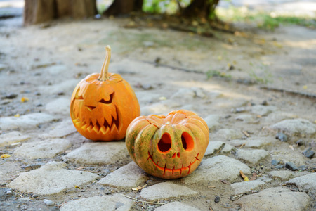 empedrado: Calabazas para la fiesta de Halloween en la carretera pavimentada