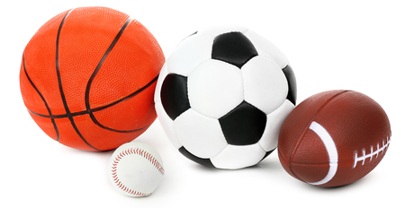 different goals: Sports balls isolated on white