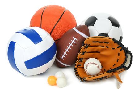 Sports Kugeln auf weißem Hintergrund Standard-Bild