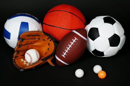 sports balls: Sports balls on black background