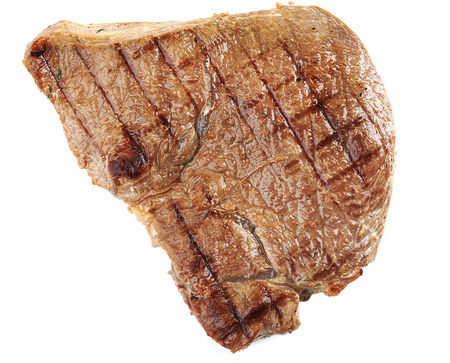 steak beef: Delicious grilled meat isolated on white