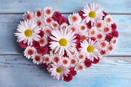 bunch of hearts: Beautiful flowers in heart shape on wooden background Stock Photo