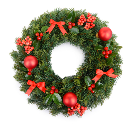 tree decorations: Christmas decorative wreath with leafs of mistletoe isolated on white