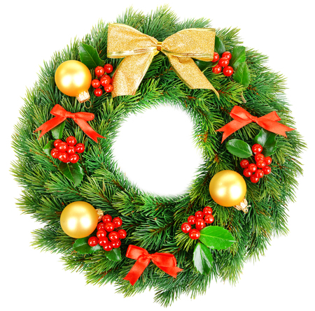 christmas decorative wreath with leafs of mistletoe isolated on white stock photo 50326362