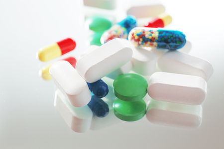 preventative: Pile of pills, close-up Stock Photo
