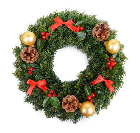 christmas decorative wreath with leafs of mistletoe isolated on white stock photo 50326773
