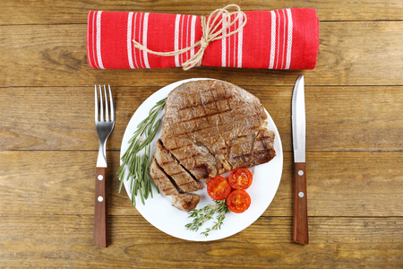 steak beef: Delicious grilled meat on table Stock Photo
