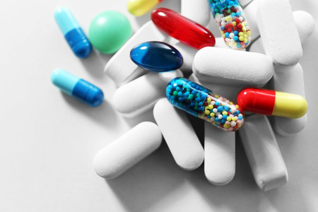 Pile of pills, close-up Banco de Imagens