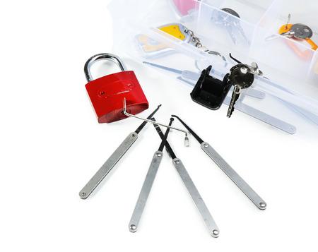 picks: Set of keys, lock picks isolated on white