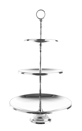 cake stand: Three tiered silver serving tray isolated on white