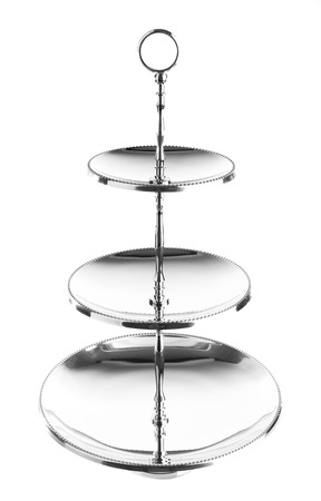 tiers: Three tiered silver serving tray isolated on white