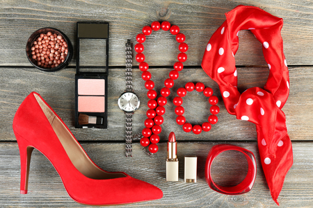 objects: Essentials fashion woman objects on wooden background