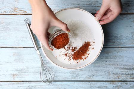 preparing dough: Preparing dough, mixing ingredients