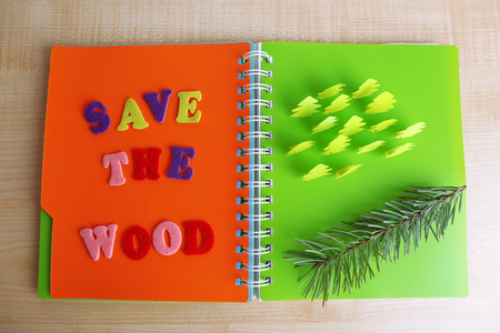cut in paper: Concept of conservation forests cut paper