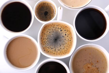 lots: Lots of coffee cups on white background