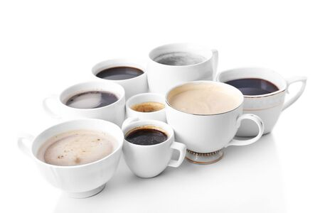 addictive drinking: Lots of coffee cups on white background