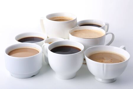 lots of: Lots of coffee cups on white background