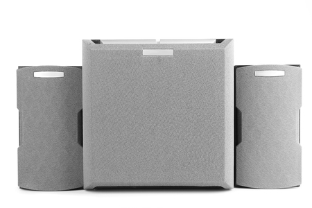 acoustic systems: Music speakers, isolated on white Stock Photo