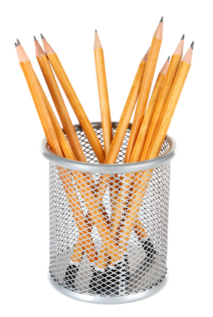 Wooden pencils in metal vase isolated on white background Stock Photo
