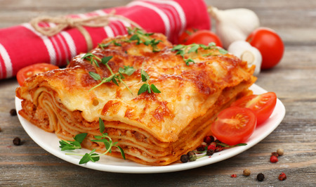 Portion of tasty lasagna, close-up Stock Photo