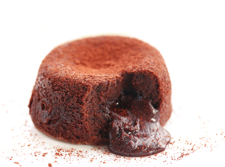 Hot chocolate pudding with fondant centre on plate, close-up Banque d'images