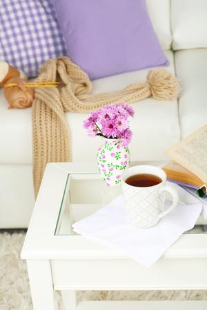 Apartment interior and decor in gentle tones Stock Photo