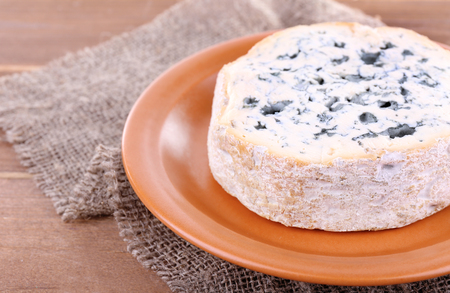 Blue cheese on earthenware dish on burlap cloth and wooden table background 写真素材
