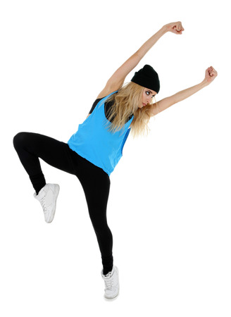 Hip hop dancer dancing isolated on white Banque d'images