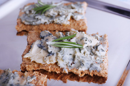 Crispbread with blue cheese and sprigs of rosemary on metal tray background