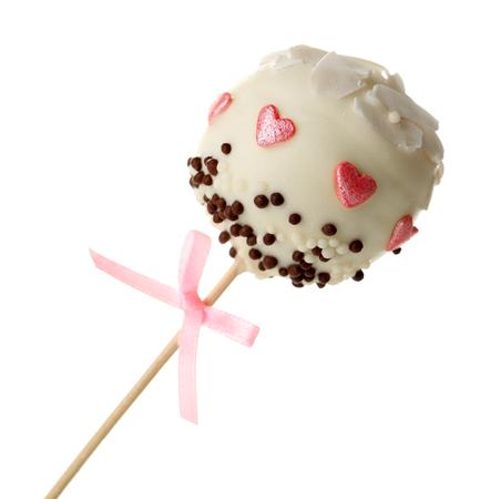 Tasty cake pop, isolated on white Stock Photo