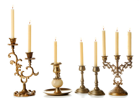 Retro candlesticks with candles, isolated on white Reklamní fotografie - 99456281