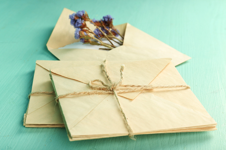 Old letters with dry flowers on wooden background Stock Photo