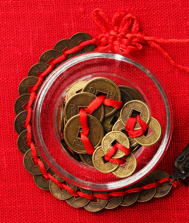 Feng shui coins on table close-up Stock Photo