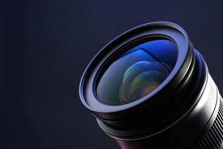 Camera lens on dark background