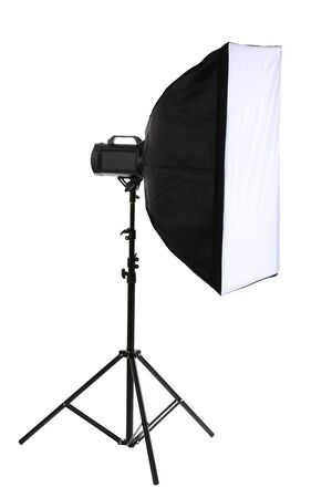 Studio flash with soft box isolated on white Stock Photo