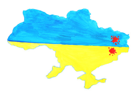 Map of Ukraine with blood, isolated on white- concept of war in the country