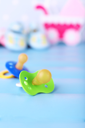 Dummy for baby, close-up, on bright background Stock Photo