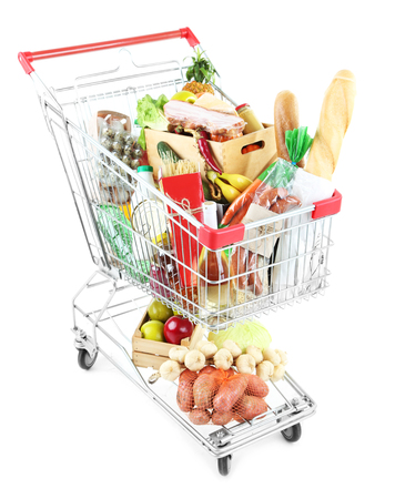 Shopping cart full with various groceries isolated on white Stock Photo - 99966184
