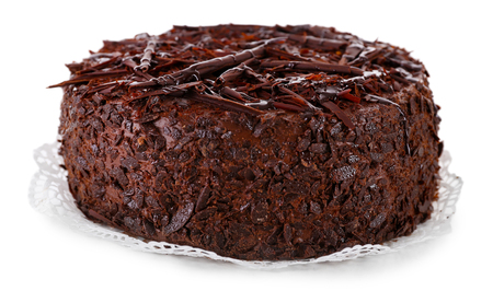 Tasty chocolate cake isolated on white