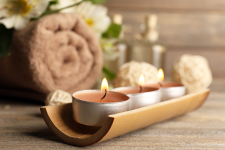 Beautiful spa composition with candles on table close up Stock Photo