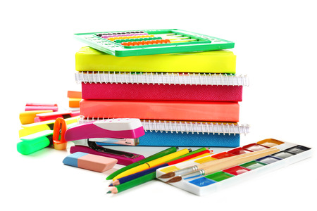 Bright school stationery, isolated on white Stock Photo