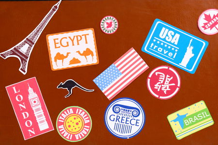 Suitcase with stickers, closeup Reklamní fotografie