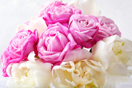 Bouquet of fresh roses and tulips, closeup Stock Photo